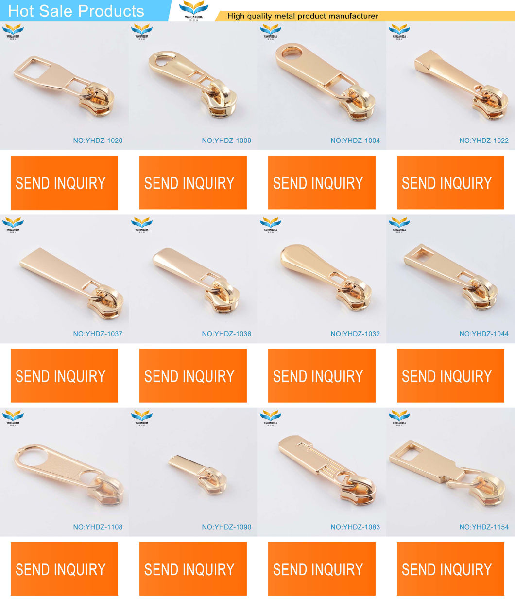 Quality Gold Color Customized Logo Zipper Metal Pulls