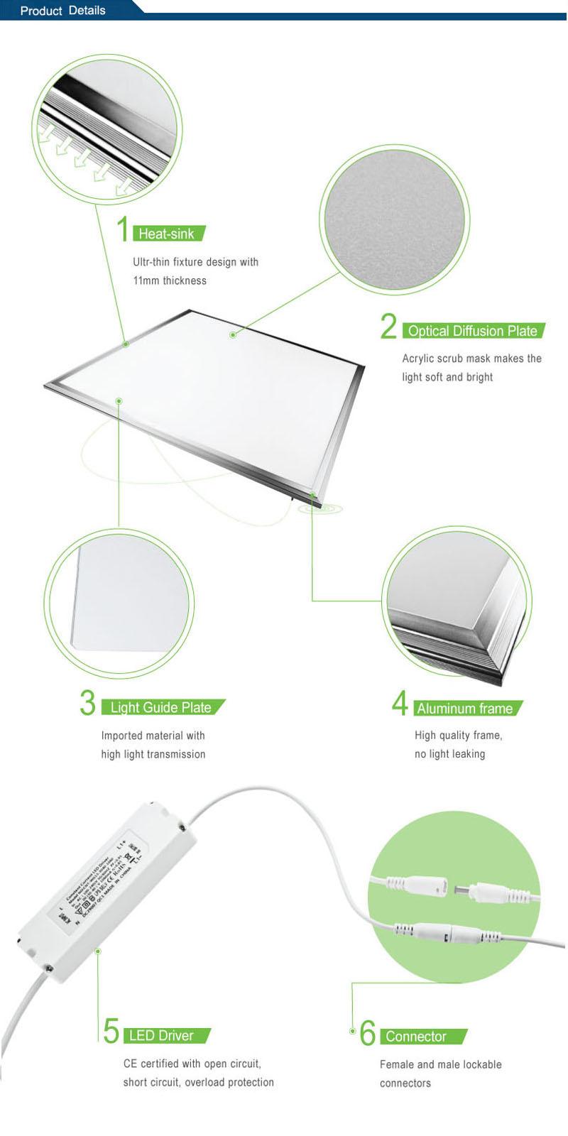 High Power 12W/24W/36W/40W/48W/72W LED Aluminum Panel Light