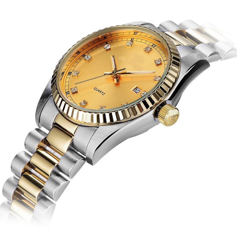 Ss and Gold Combined Colors Noble Gentleman Luxury Timepiece with Date Window