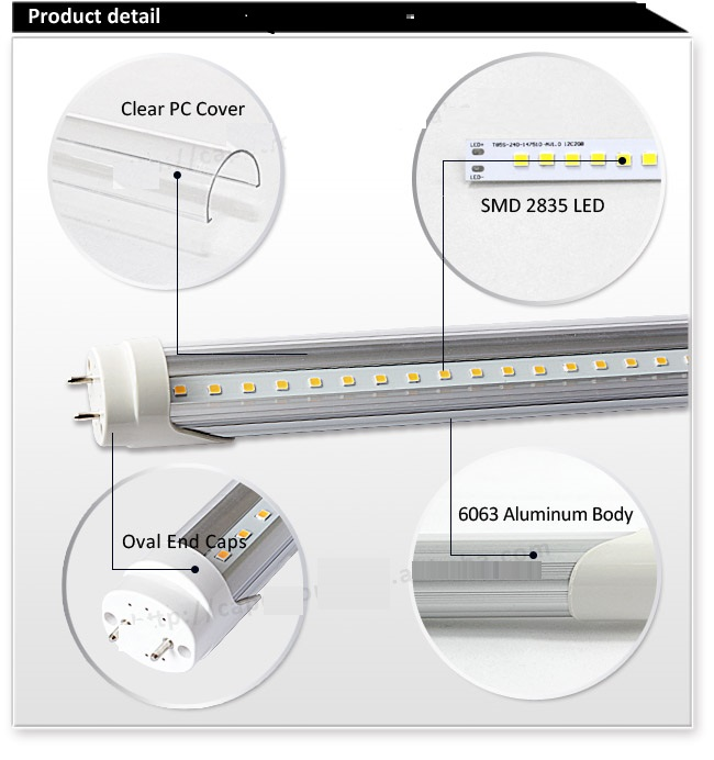 8ft LED Tube 36W with Single Pin