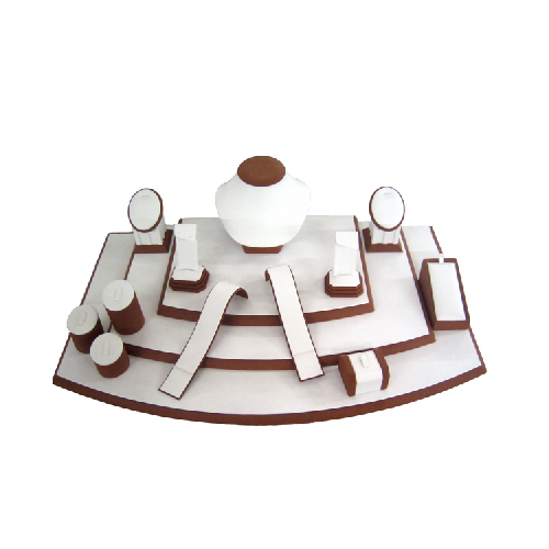 Brown Flock Jewelry Necklace Earring Display Stand Showcase (WST-P9 /JS200-JS20Y)