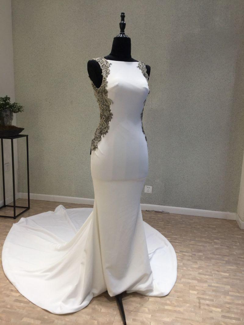 Real Satin Beading Mermaid Evening Gowns Wedding Dress Evening Dress