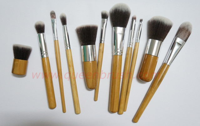 Bamboo Handle 11PCS Synthetic Cosmetic Makeup Brush Set