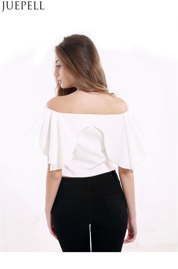 European and American Women's Summer Halter Short Paragraph Sexy Strapless Flounced Collar Neck Short Sleeve T-Shirt Blouse