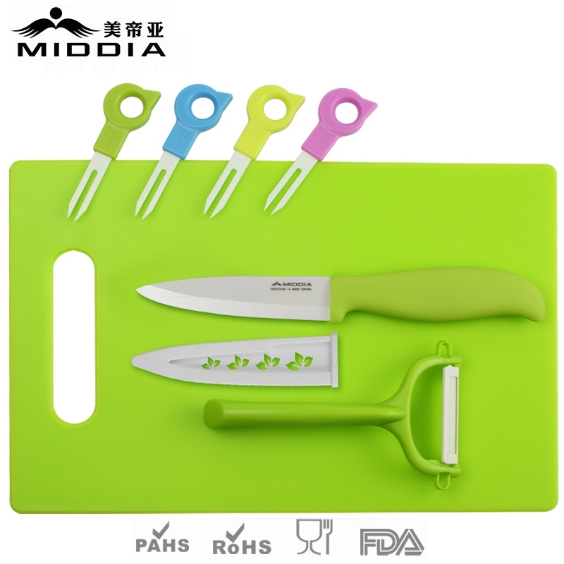 Ceramic Fruit Forks with Knife & Peeler & Chopping Board Set