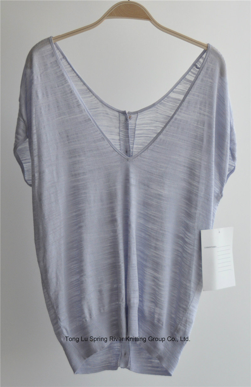 Ladies V Neck Sleeveless Knit Cardigan with Button