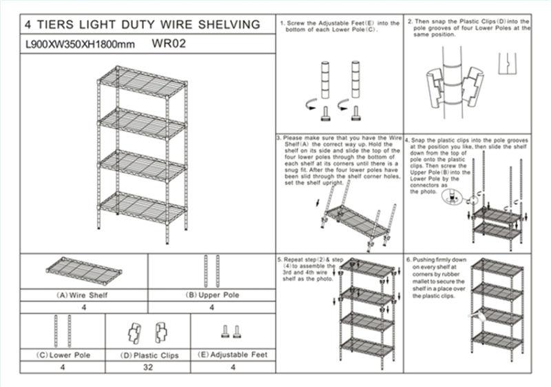 NSF Approval DIY 4 Tiers Chrome Metal Wire Book Storage Rack