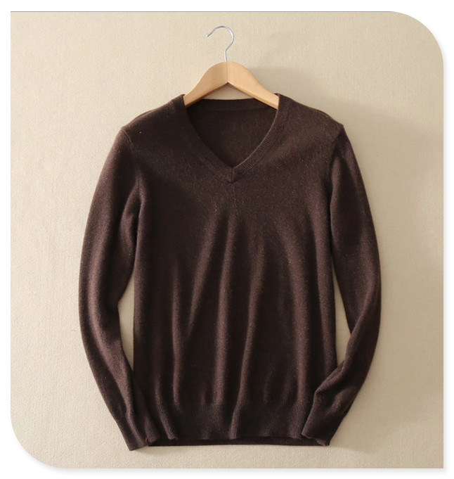 2017 Men's Knittwear 100% Cashmere Sweater Pullover Long-Sleeved V Neck Pure Cashmere Knitting Sweater