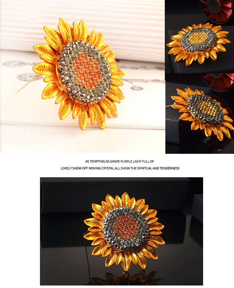 Gold Plated Rhinestone Classical Style Sunflower Brooch for Lady