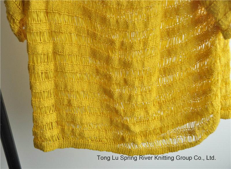 Ladies Round Neck Short Sleeve Knit Sweater