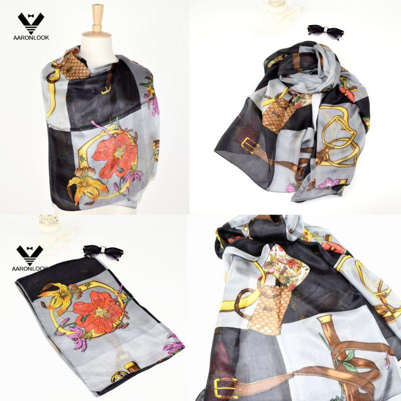 2016 Retail Stylish Belt Chain Design Silk Luxury Scarf