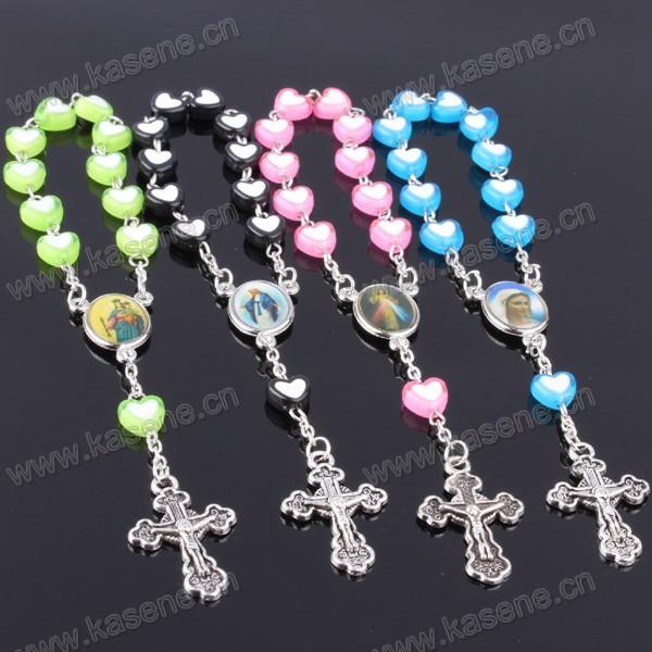 Cheap Handmade Colorful Heart Plastic Rosary Bracelet
