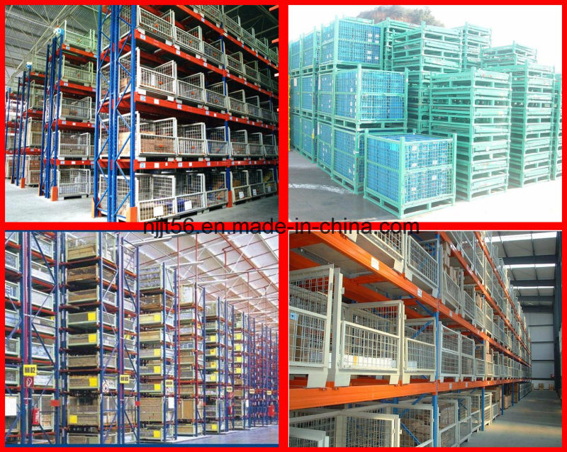 Metal Foldable Cage Pallet / Stacking Storage Container