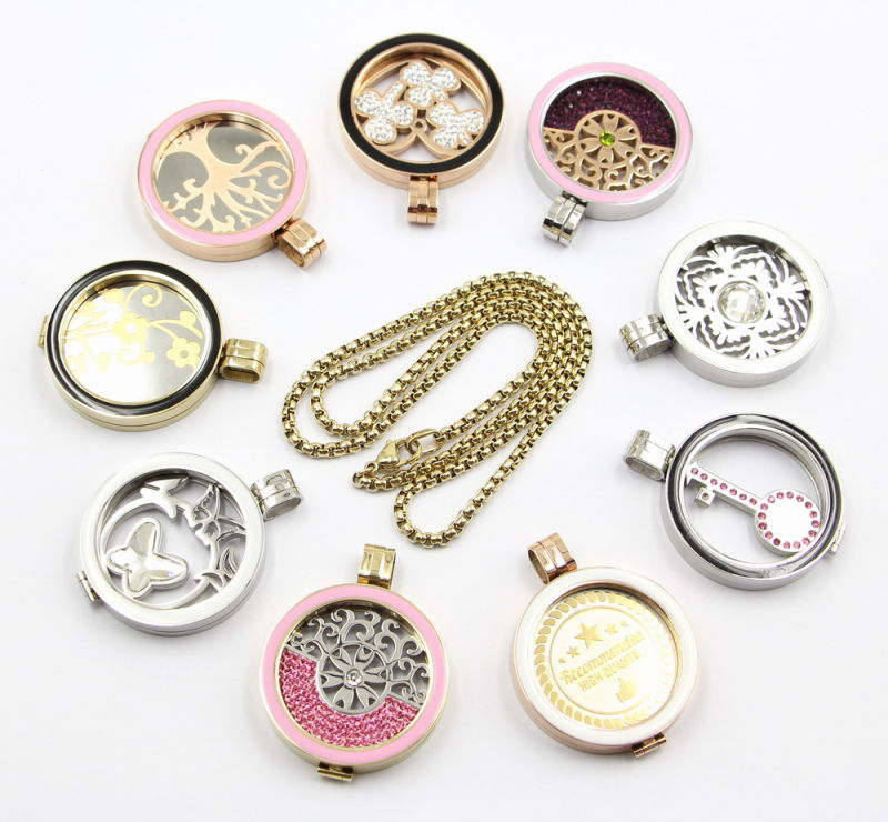 Factory Wholesale of Fashion 316L Stainless Steel Locket Jewelry with Enamel Top