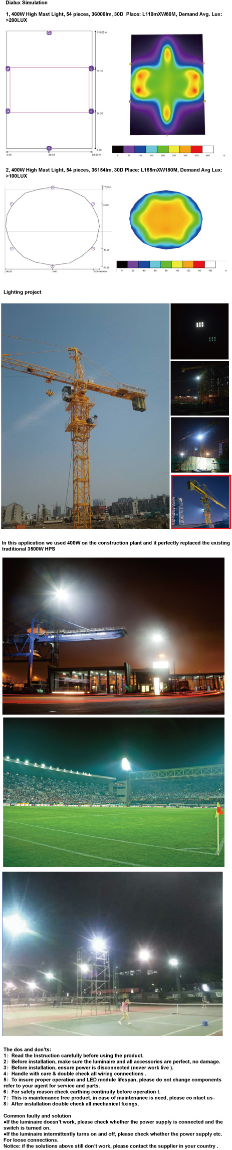 130W CREE LED Outdoor High Mast Light