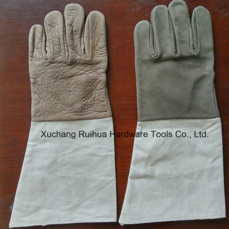 Kevlar Stitching Leather Working Gloves with Canvas Cuff, Unlined MIG TIG Welding Gloves, Good Quality Cow Grain Leather Welder Gloves Factory