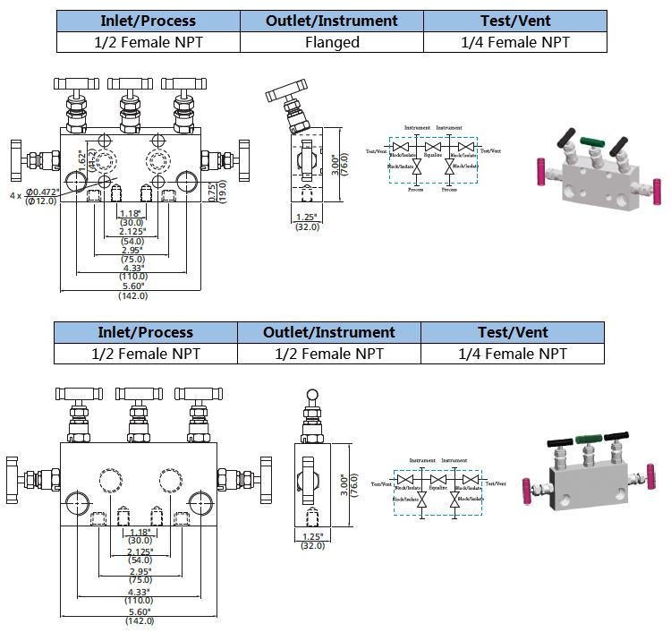 Stainless Steel Instrument 5way Valve Manifolds