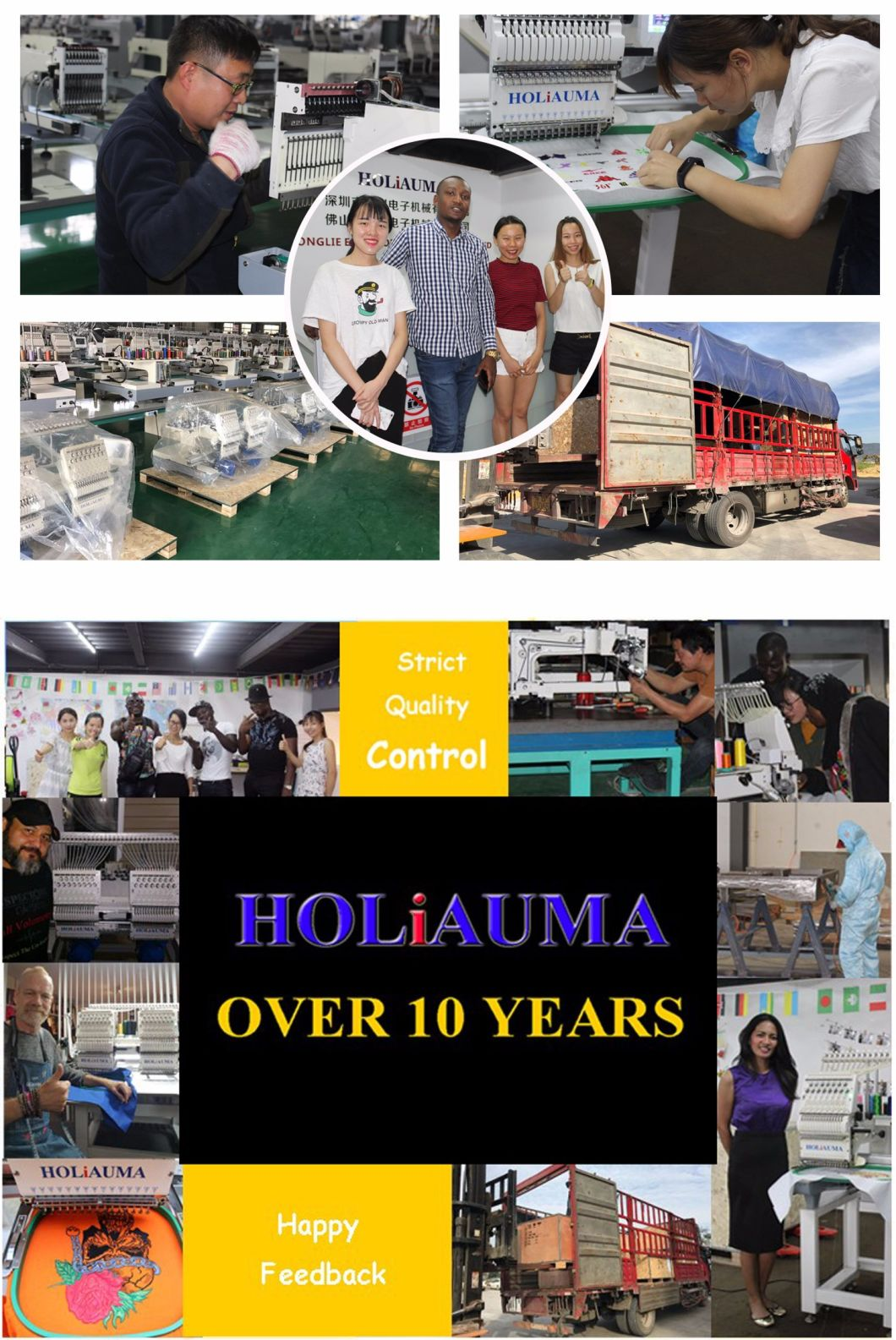 Holiauma 2 Head 15 Needles 1200 Spm Computerized Embroidery Machine with 100 Embroidery Machine Designs Like Tajima Embroidery Machine for Cap/Garment