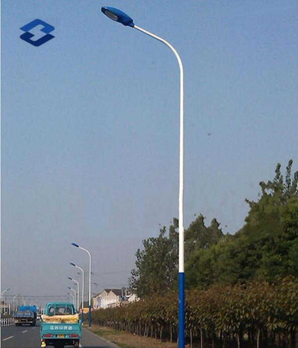 Curved Single Arm Bracket Street Light Steel Pole