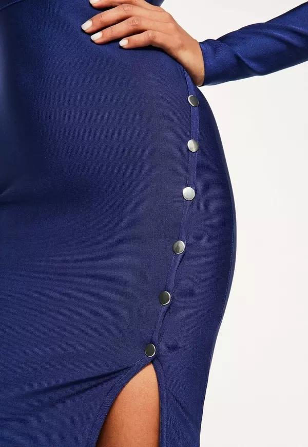 Navy Bandage Popper Detail MIDI Dress