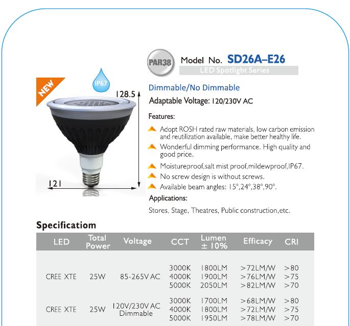 IP67 Waterproof LED PAR38 for Outdoor Lighting