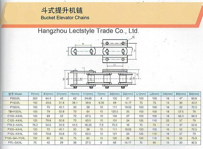 P150/2L, P200/2L, P100/4L, P100-K4/4L Steel Bucket Elevator Conveyor Chain and Cement Mill Chain
