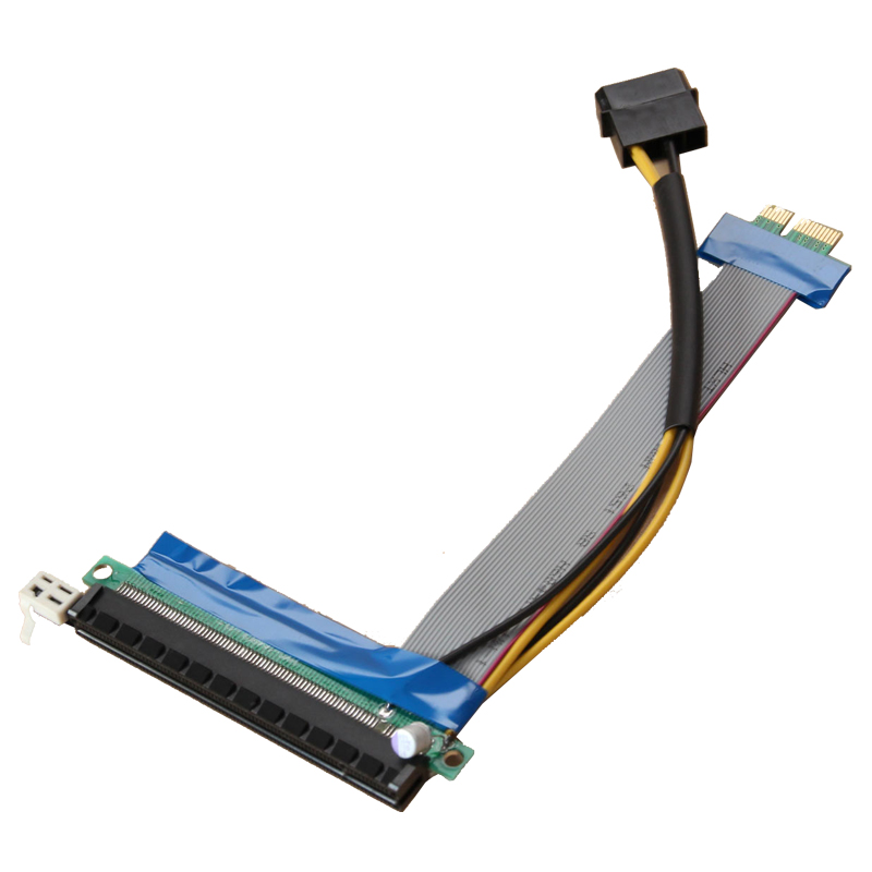 Flat Ribbon Cable Powered PCI-E Riser Card