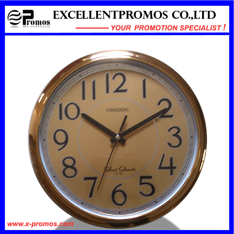 Copper-Colored Frame Logo Printing Round Plastic Wall Clock (Item20)