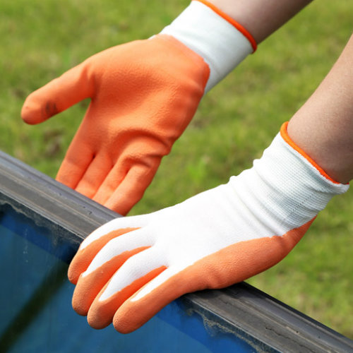 White Nylon Safety Gloves, Orange Latex Gloves Gloves (DNL212)