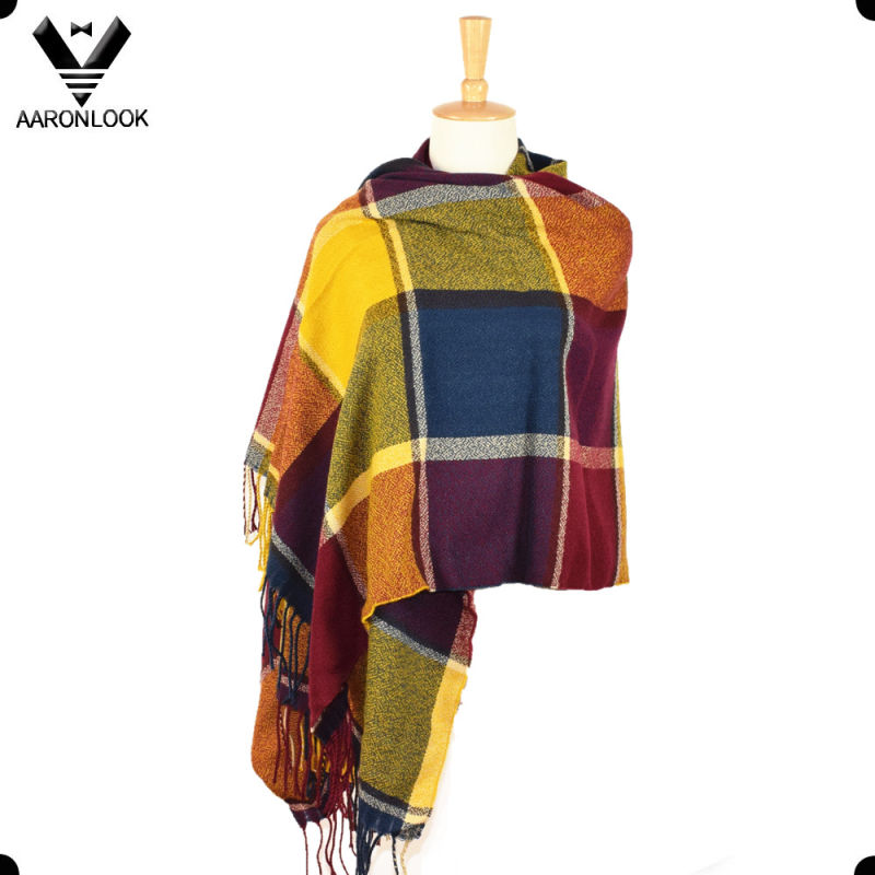 Trendy Acrylic Multicolor Big Plaid Scarf Shawl with Fringes