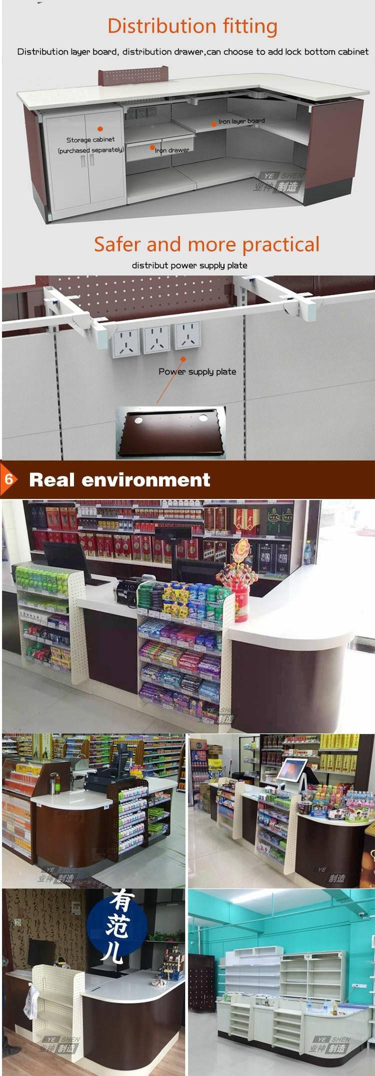 Boutique Countertop Cashier Desk Checkout Counter with Small Shelf