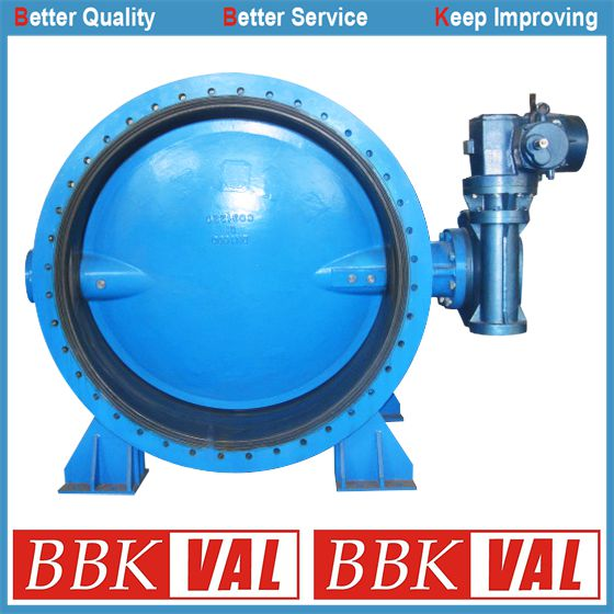 Ductile Iron Double Flange Concentric Butterfly Valve Gearbox Operated