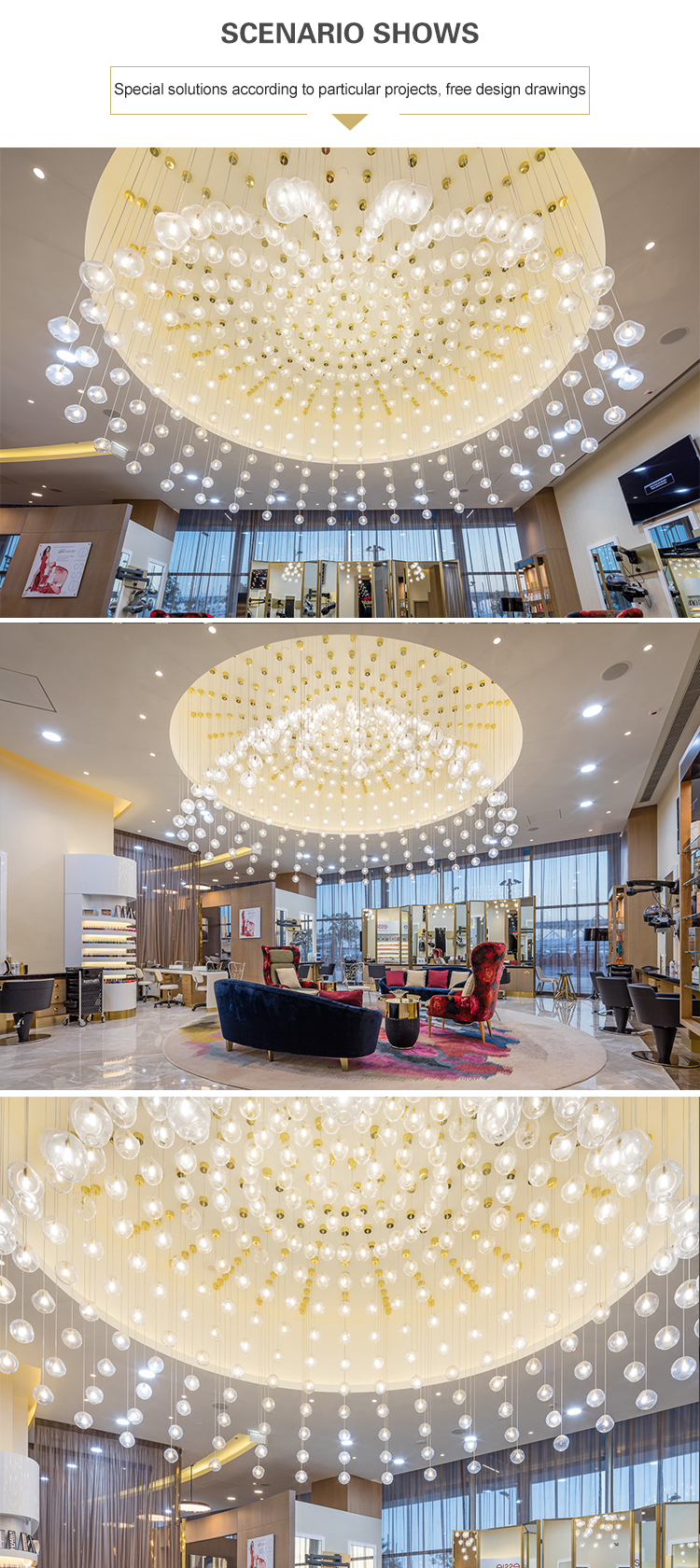 Project Bubble ball glass hotel hall shopping centre hanging led chandelier light