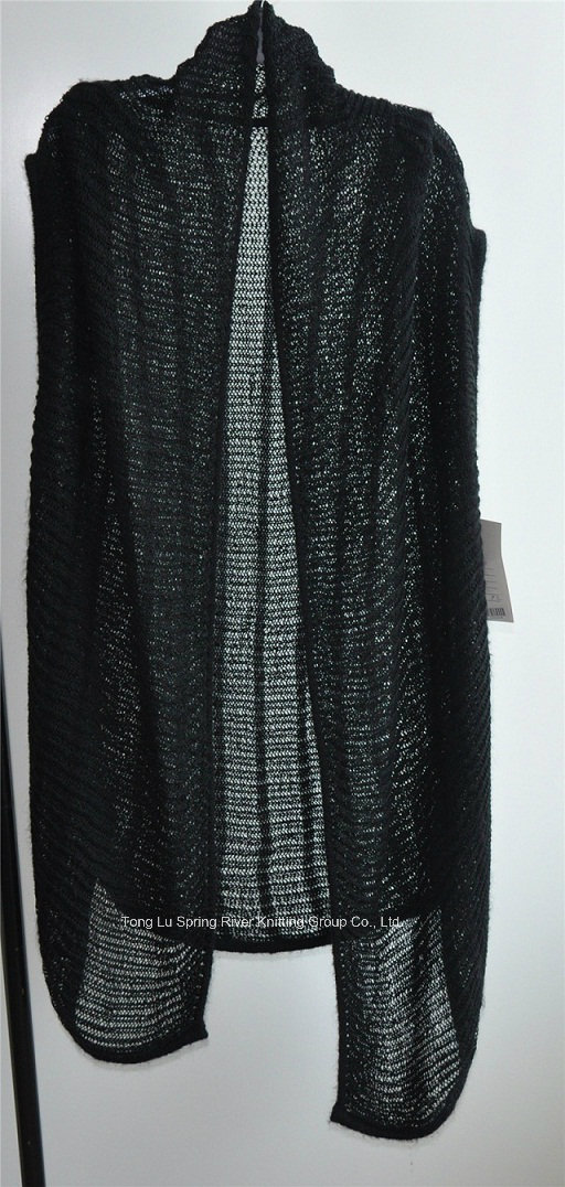 Ladies Long Sleeveless Opean Patterned Knit Cardigan