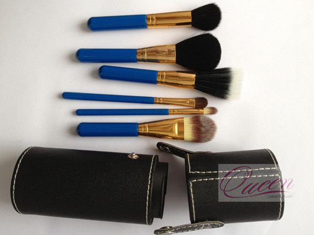 Goat Hair 6PCS Cosmetic Brush Set with Cylinder Makeup Case