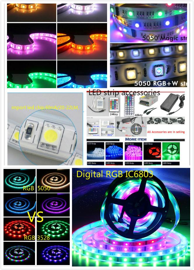 5m 60LEDs/M Digital Lpd8806 RGB LED Strip Non Waterproof PCB Individually