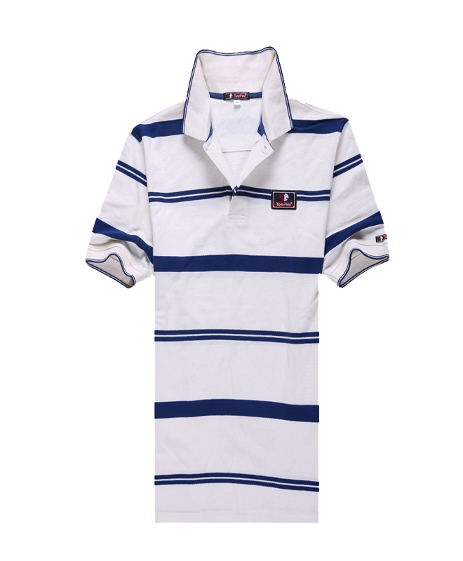 Cotton Stripes Golf Polo Shirt for Men