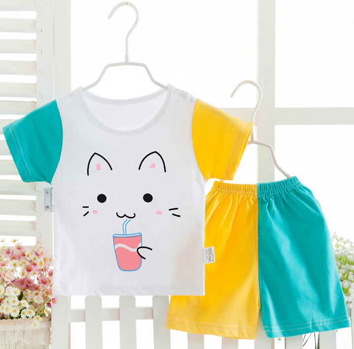 Short Sleeve Summer Cotton Underwear Suit for Girl