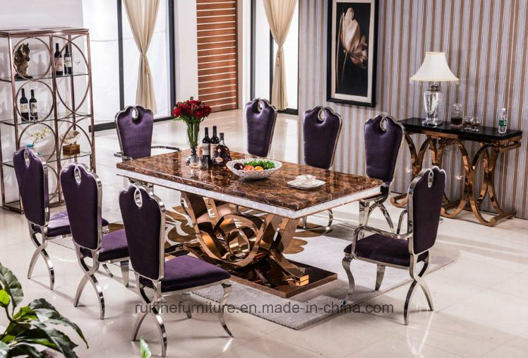 Wholesale Luxury Dining Chair / Marble Dining Table and Chair Velvet Fabric