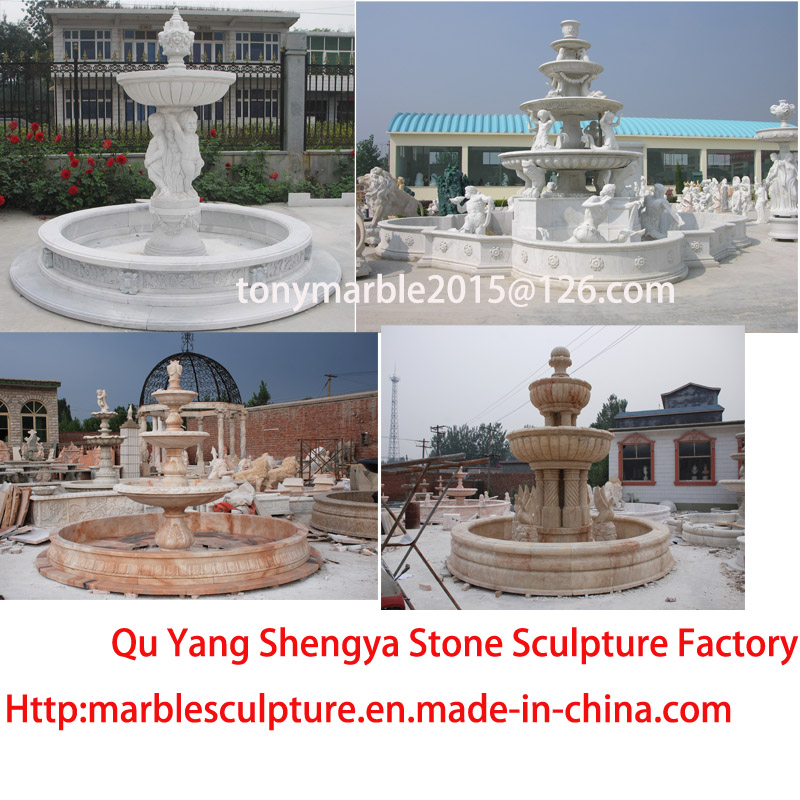 Three Level Beige Marble Sculpture Fountain (SY-F012)