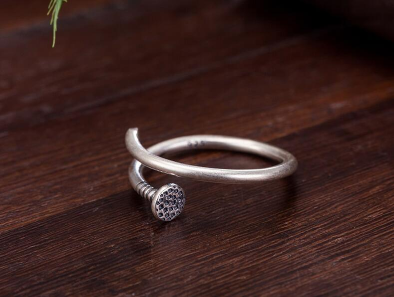 925 Sterling Silver Nail Shape Ring Unisex Half Open Design