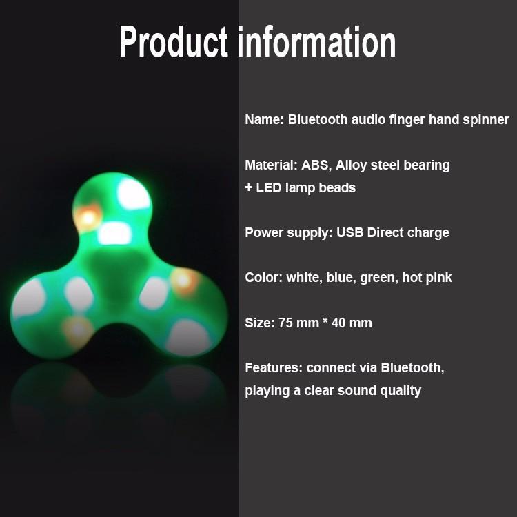 Fashion Bluetooth Speaker Spinner Toys Fidget Hand Spinner with LED Light