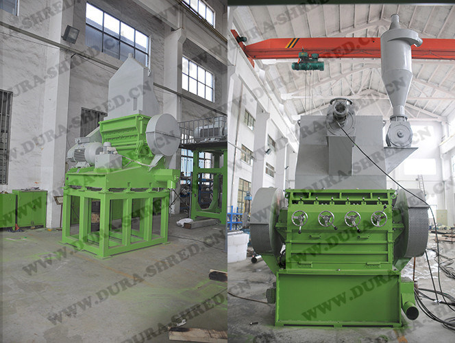 Fresh Green Color Double Shaft Shredder Waste Garbage Recycling Machinery