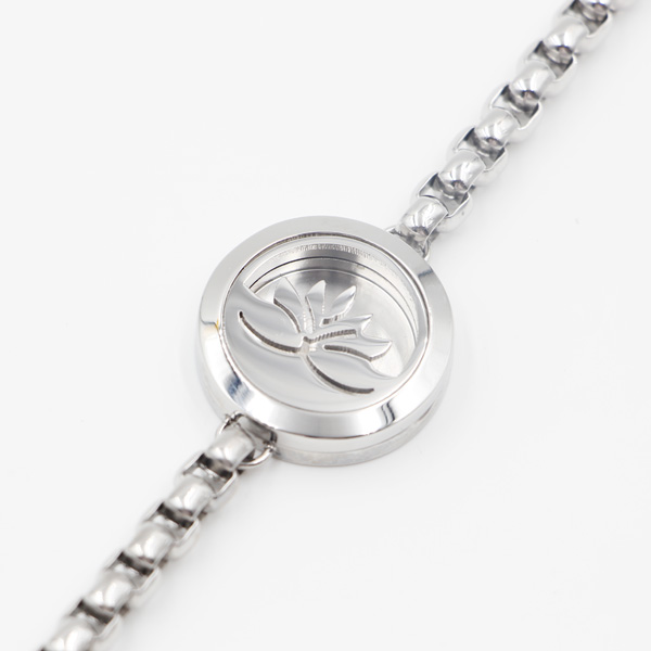 Lotus 316L Stainless Steel Perfume Locket for Fashion Bracelet Jewelry