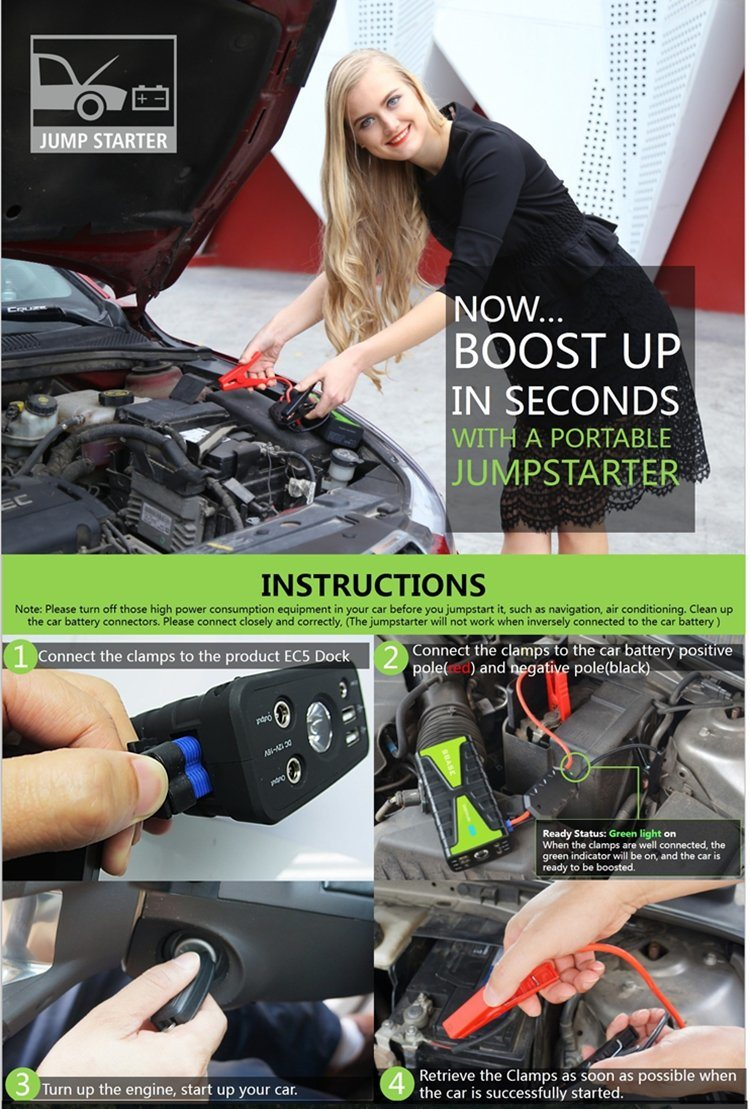 16800mAh 800A Current Portable Jump Starter Power Supply for Gasoline/Diesel