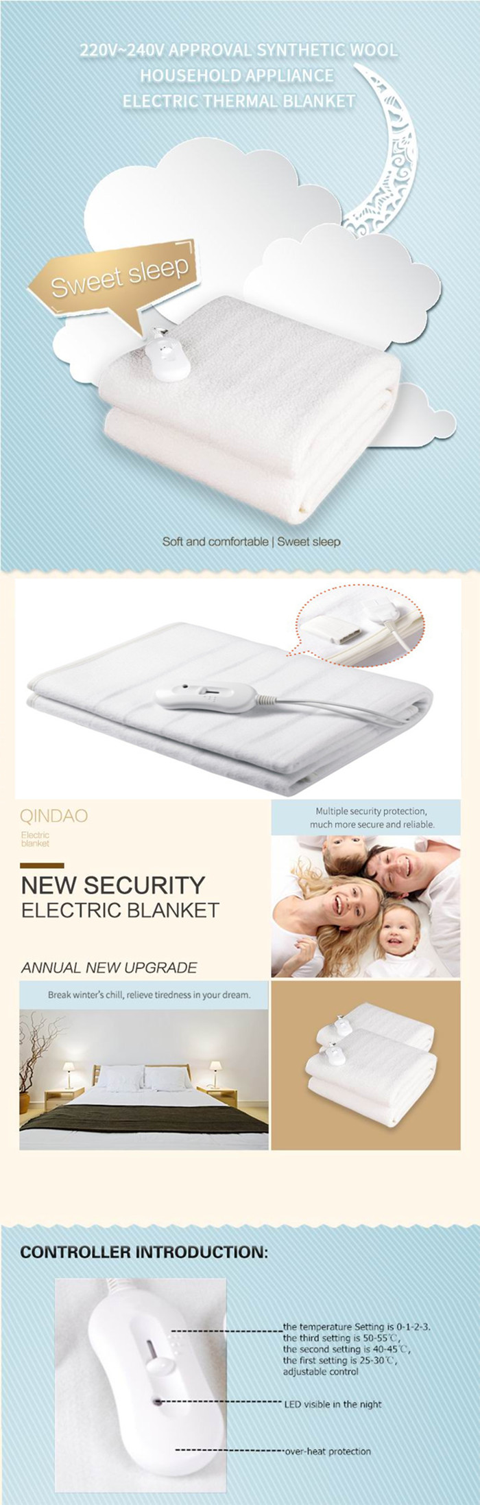 Over Current Protection Bedding Fleece Electric Blanket with BSCI Approval