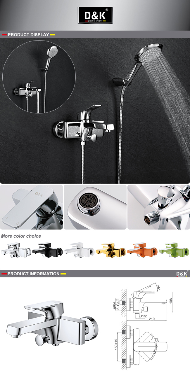 Modern Design High Quality Brass Chrome Plated Shower/Bath Mixer Faucet with Shower Kit