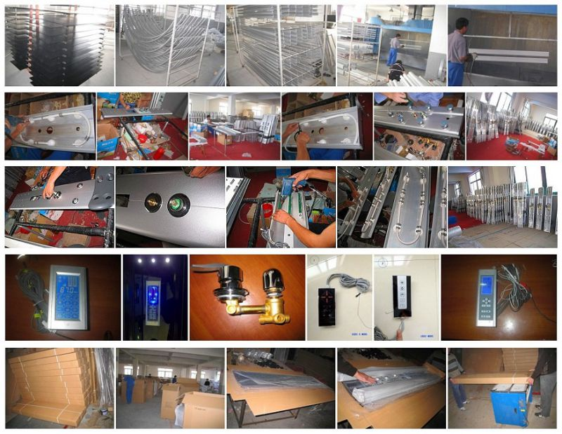 Black Aluminum Frame Low Base Steam Shower Stalls (ADL-827)