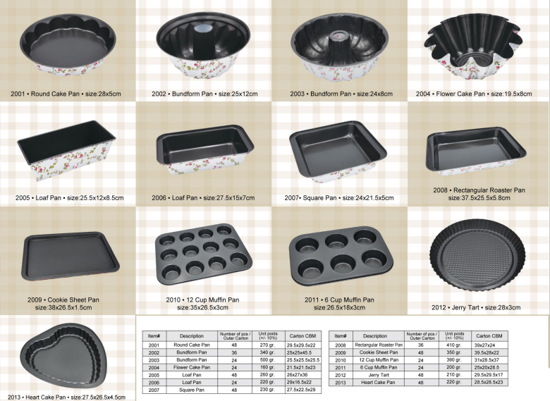 Printing Folwer Carbon Steel Non Stick Cake Mold, Bakeware Set