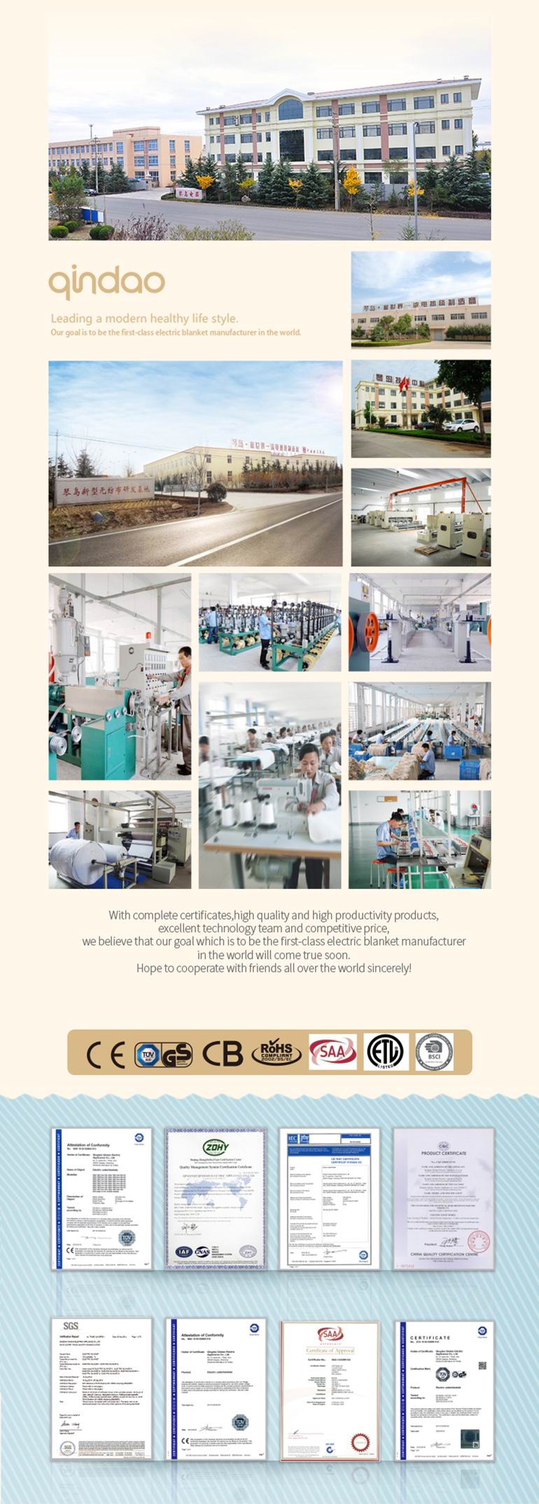 Polyester Fixed Controller Electric Under Blanket with Ce GS Certificate